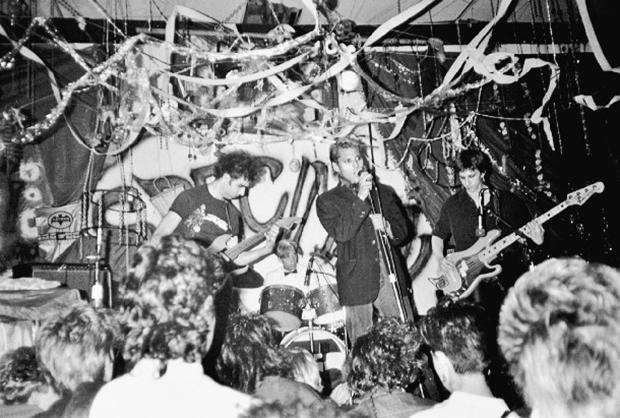 Skin Yard play at Gorilla Gardens, July 1985From left: Jack Endino, Matt Cameron, Ben McMillan, and Daniel House Photo by Cam Garrett