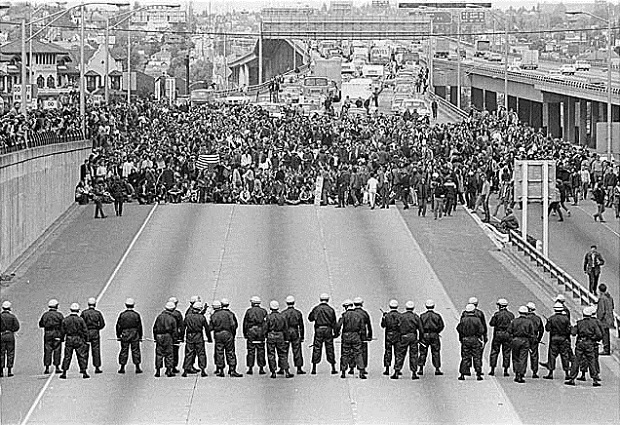 Marchers on I-5, Seattle, May 5, 1970 Museum of History & Industry