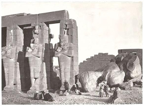 """Osiridae pillars and fallen colossus."" Photo by Francis Frith."
