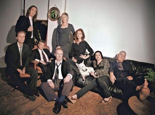 The Mekons (from left: Tom Greenhalgh, Lu Edmonds, Rico Bell, Steve Goulding, Sally Timms, Susie Honeyman, Sarah Corina & Jon Langford).Photo by Derrick Santini. Courtesy of Music Box Films.
