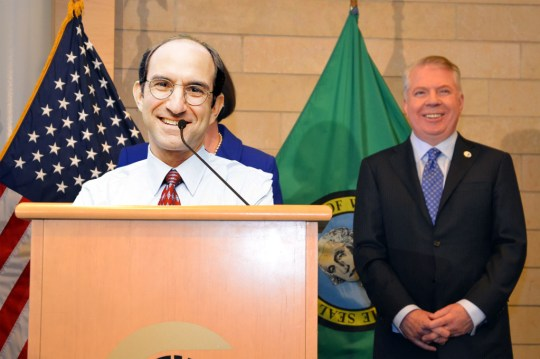 """""""I am bringing big-city leadership to the Seattle Police Department,"""" exulted newly appointed SPD Liasion Mark Sidran. (Image by UPI Svcs.)"""