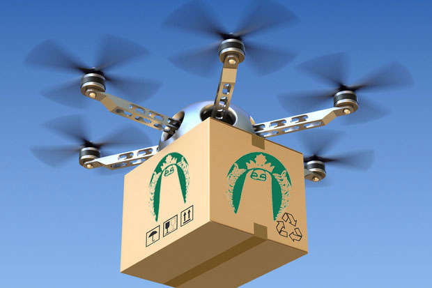 Wave of the future? Starbucks drones fly their wares to the waterfront.
