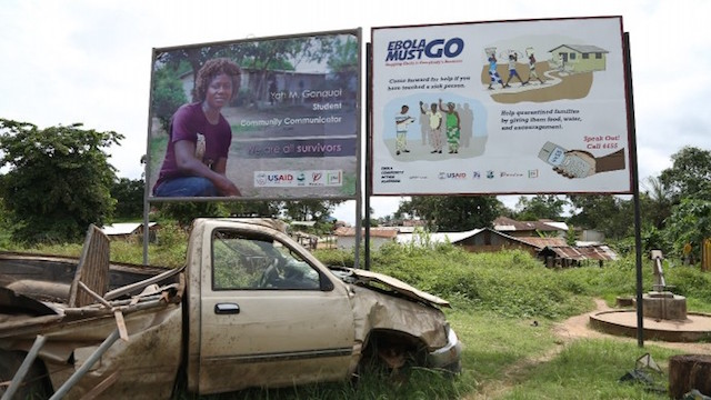 Billboards in Kakata in Margibi County, Liberia, where new Ebola cases were recorded in June and July 2015.