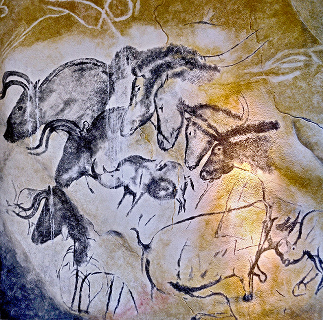 The walls of the Grotte Chauvet depict many predatory animals such as cave bears, woolly rhinos, mammoths and wild cats. Photo by Thomas T.. CC-BY-SA