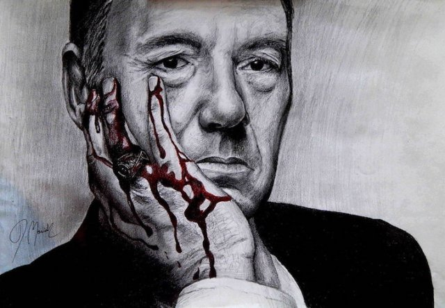 Impression of Kevin Spacey as Frank Underwood. Artwork by marcinyak. Licensed CC-BY-NC-ND.