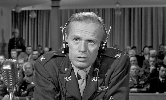 Richard Widmark in Judgment at Nuremberg.