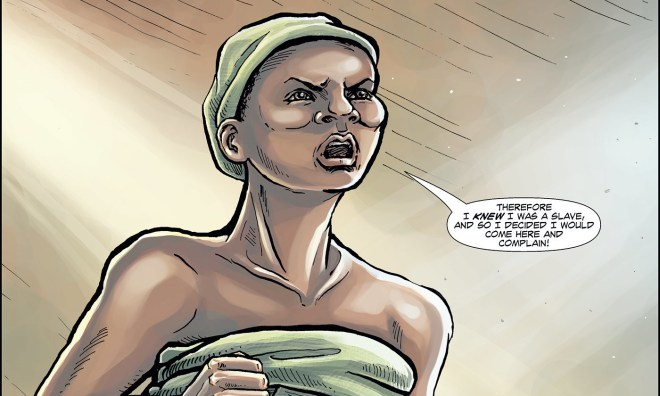 Panel from Abina and the Important Men. Art: Liz Clarke. Script: Trevor Getz.
