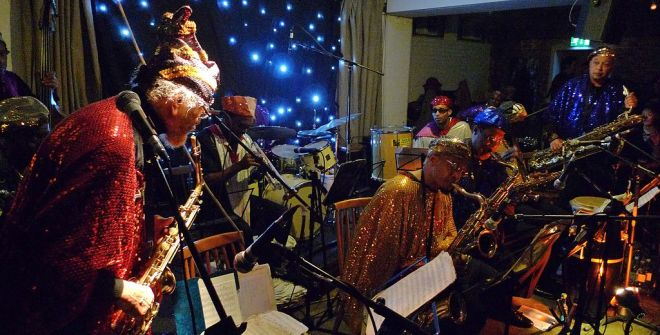 Sun Ra's Arkestra. Photo credit: Andy Newcombe. Licensed CC-BY.