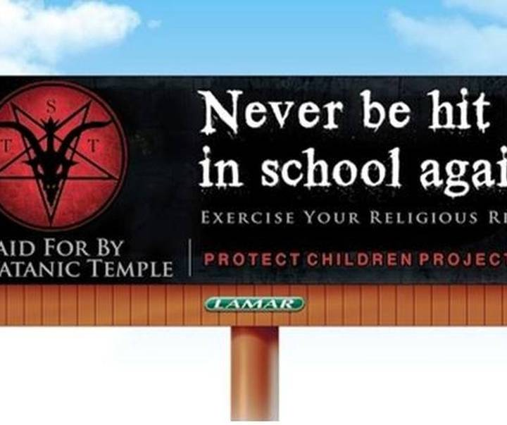 Satanic Temple puts up anti-paddling billboard in Springtown