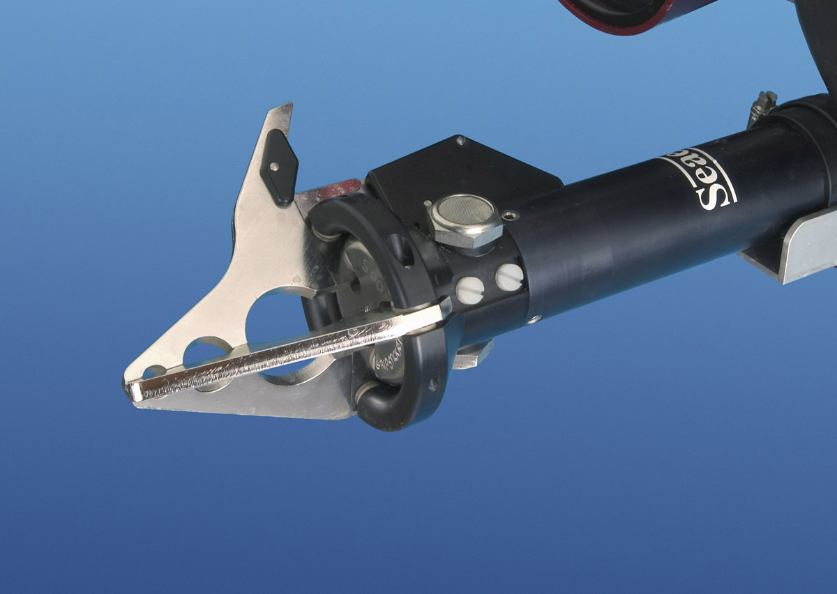 SeaView Systems' Saab Seaeye single function grabber arm is shown.