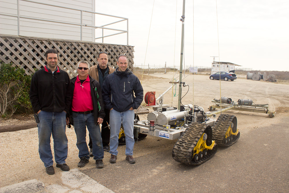 The SeaView Systems team is shown after successfully the SurfROVer robotic remote operated vehicle in the littoral surf zone.