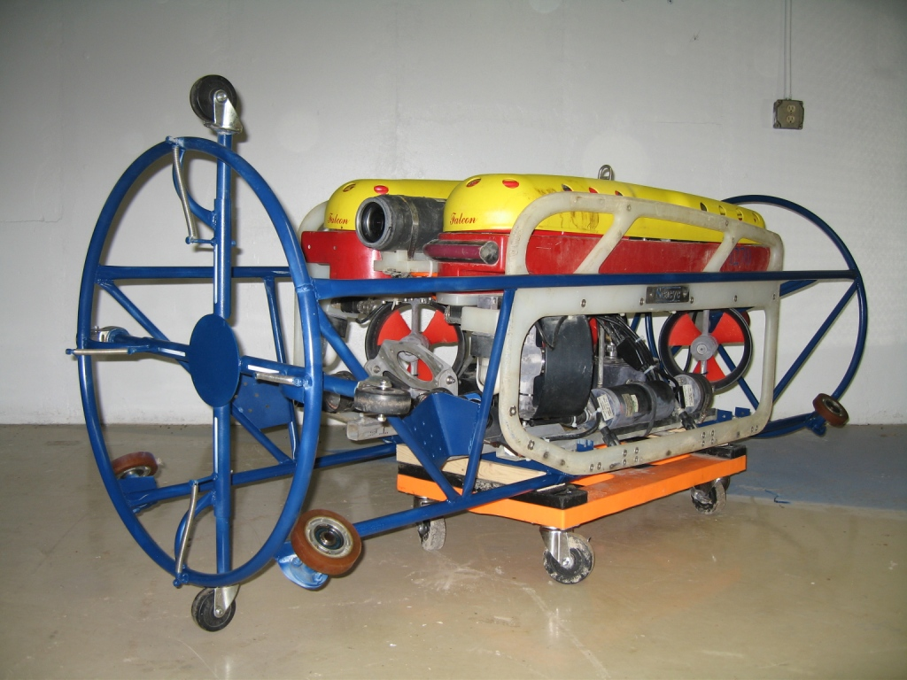SeaView Systems' Saab Seaeye Falcon ROV is shown fitted with a profiling sonar in our ovality cage.