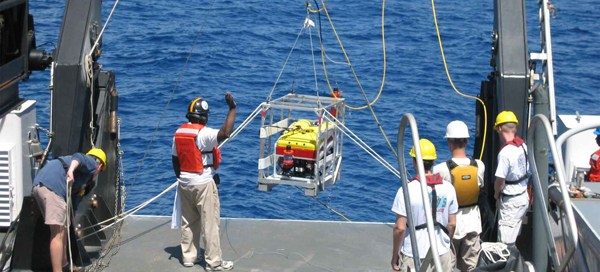 SeaView Systems' Seaeye Falcon DR ROV is shown during a NOAA launch.