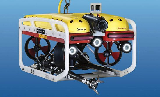 SeaView Systems' Saab Seaeye Falcon underwater robotic remote operated vehicle (ROV) is shown.