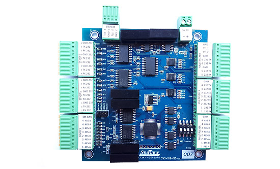 The SeaView Systems SVS-109-ISO serial data and isolation board is shown.