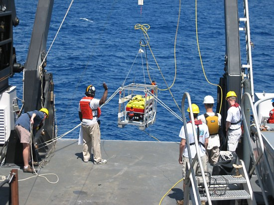 SeaView's Seaeye Falcon DR ROV is shown during a NOAA launch.