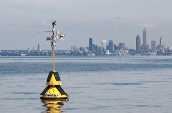 A LimnoTech data buoy, featuring the SeaView Systems SVS-603 wave sensor, is shown deployed near Cleveland, OH.