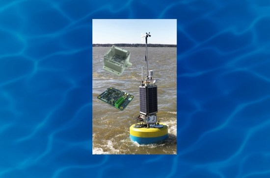 The SeaView Systems SVS-603HR wave sensor, in an enclosure box and as a bare board, is shown alongside a Fondriest data buoy.
