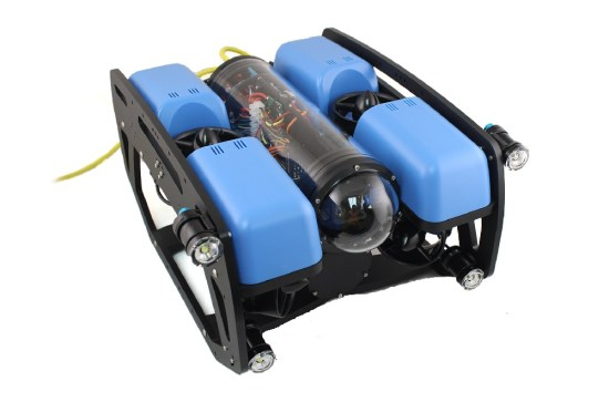 SeaView Systems' Blue Robotics BlueROV2 underwater robotic remote operated vehicle (ROV) is shown.