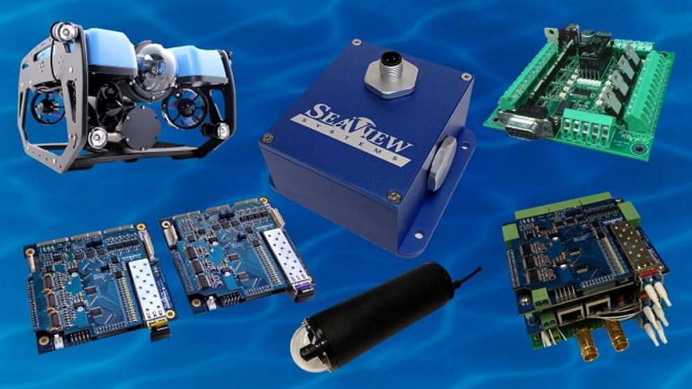SeaView Systems' subsea electronics products, including the Blue Robotics BlueROV2, SVS-603HR wave sensor, SVS, 601 system power controller, SVS-509 Omni-Data stack, $K UHD CinemaCam, and SVS-109 fiber optic multiplexer (mux) set are shown.
