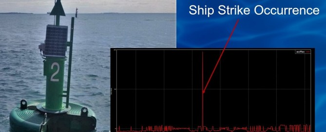 A data buoy is shown along with a chart highlighting a ship strike occurrence as logged by the SVS-603 wave sensor.