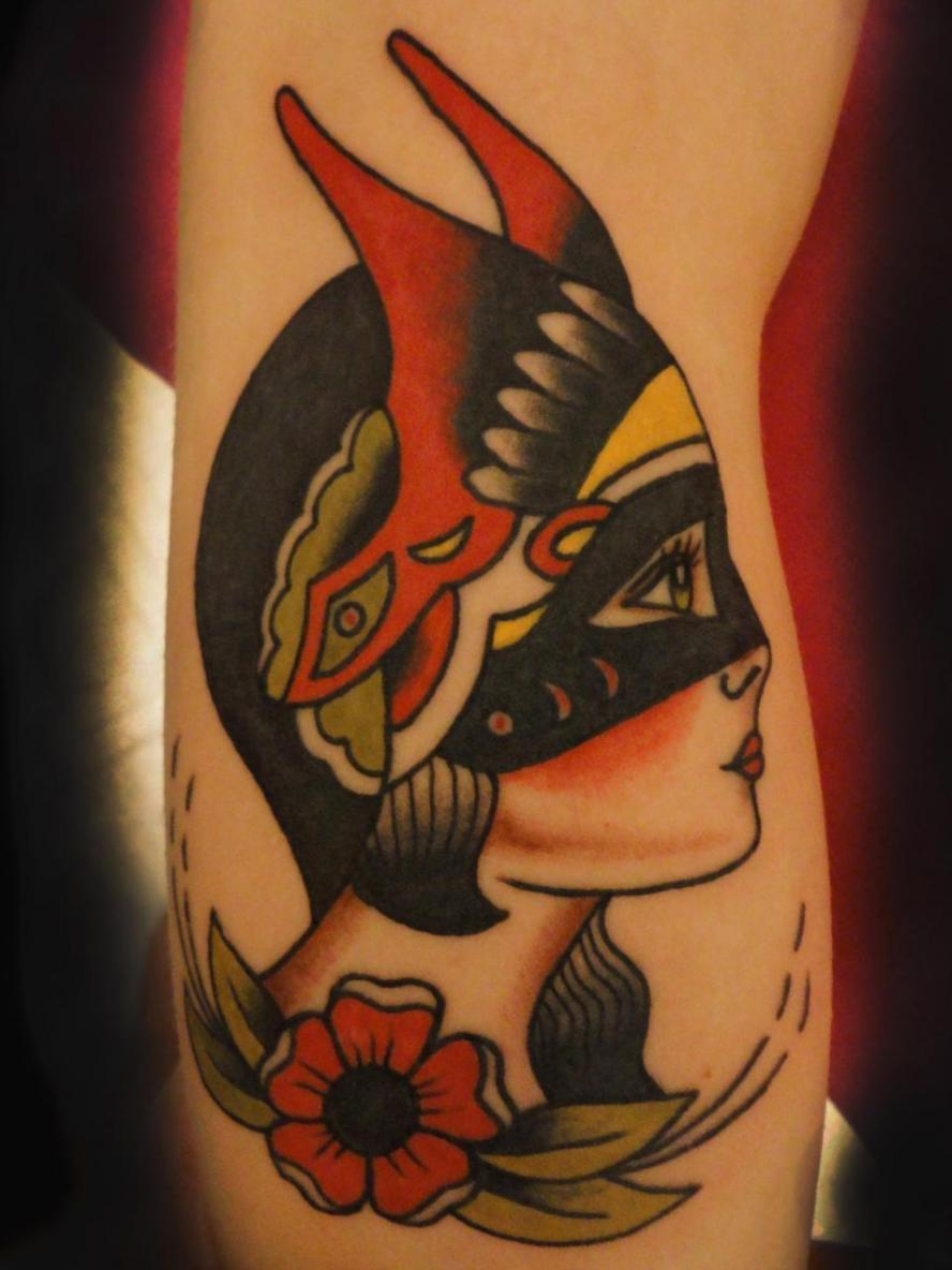 masked girl head tattoo, amund dietzel tattoo, minneapolis tattoo shops, minnesota tattoos, traditional tattoos