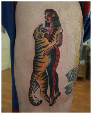 dances with tigers, minneapolis tattoo shops, minnesota tattoos, ralph johnstone, sea wolf tattoo company, traditional tattoos