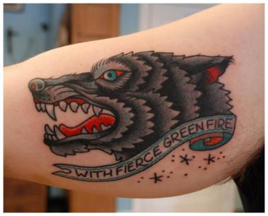 another wolf tattoo..., minneapolis tattoo shops, minnesota tattoo shops, minnesota tattoos, sea wolf tattoo company, wolf tattoo, traditional tattoos