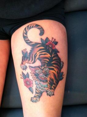 tiger tattoo, minneapolis tattoo shops, minnesota tattoo shops, minnesota tattoos, sea wolf tattoo company, tiger tattoo, traditional tattoos