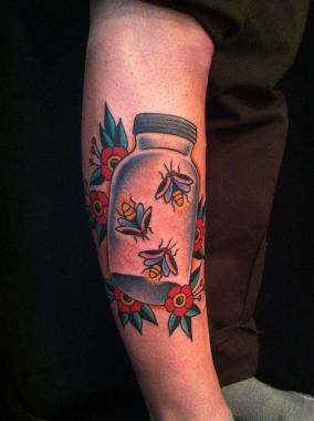 fireflies in a mason jar tattoo, firefly tattoo, minneapolis tattoo shops, minnesota tattoo shops, minnesota tattoos, sea wolf tattoo company, traditional tattoos
