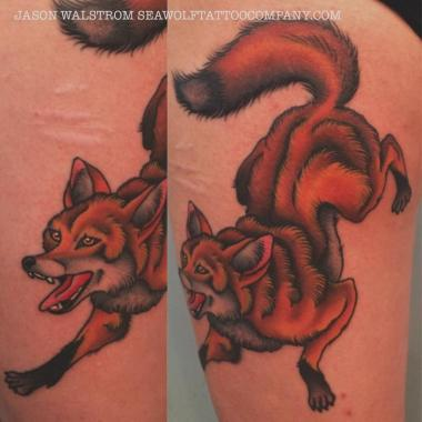 red fox tattoo, fox tattoo, jason walstrom tattoos, minneapolis tattoo shops, minnesota tattoo shops, traditional tattoo, traditional tattoos