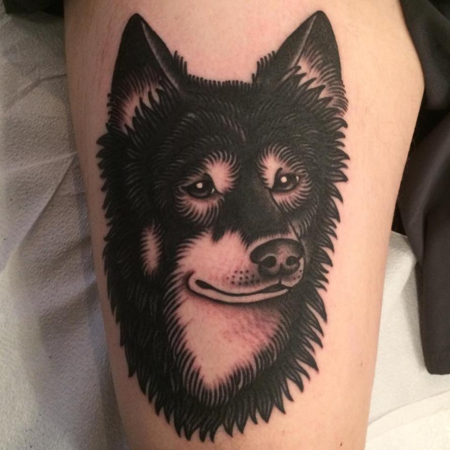 dog portrait tattoo, jason walstrom tattoos, minneapolis tattoo shops, minnesota tattoo shops, traditional tattoo, wolf tattoo, traditional tattoos