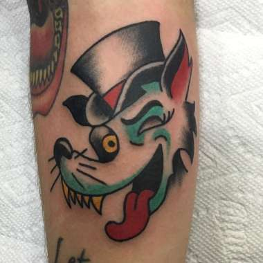 slick wolf!!!!, andy hefner, andyhefnertattoo, minneapolis tattoo shops, traditional tattoo, wolf tattoo, traditional tattoos
