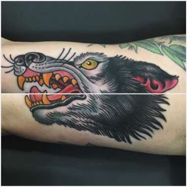 more wolf tattoos!, jason walstrom tattoos, minneapolis tattoo shops, minnesota tattoo shops, traditional tattoo, wolf tattoo, traditional tattoos