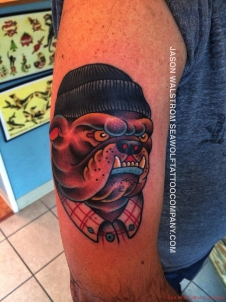 Hipster Bulldog Tattoo