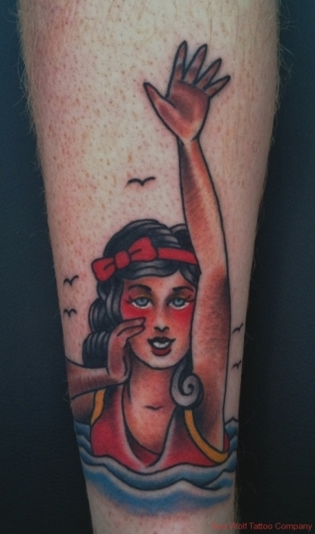 Swimming Woman Tattoo