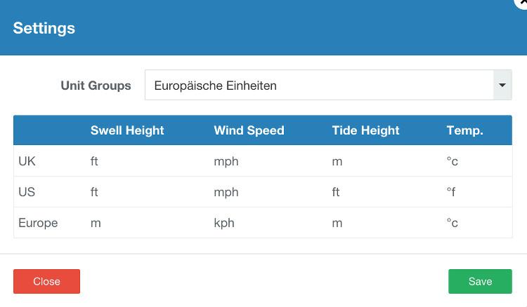surf forecast lesen einstellungen