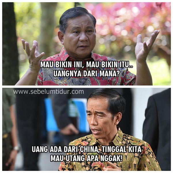 Meme Jokowi vs Prabowo Lucu Terbaru Uangnya Darimana Pak Jokowi