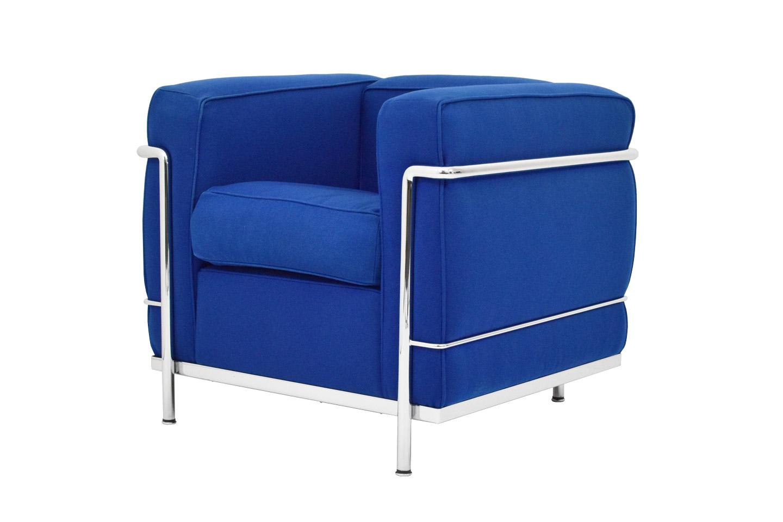 Cassina Lc2 Le Corbusier Fauteuil Tissu Bleu Cassina Classiques Du Design Sebworld Fr