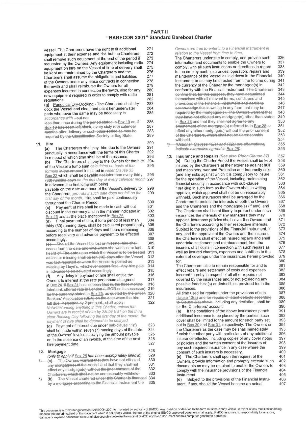 Bareboat Charter Agreement Template