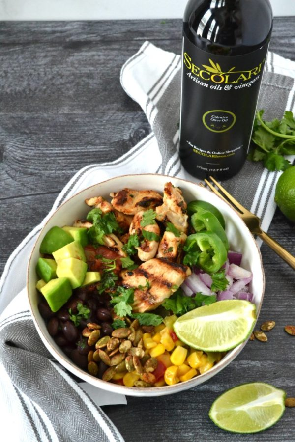Cilantro Lime Chicken Taco Bowls Preparation