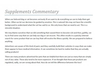 Supplements Commentary