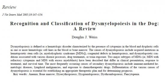 Recognition and Classification of Dysmyelopoiesis in the Dog