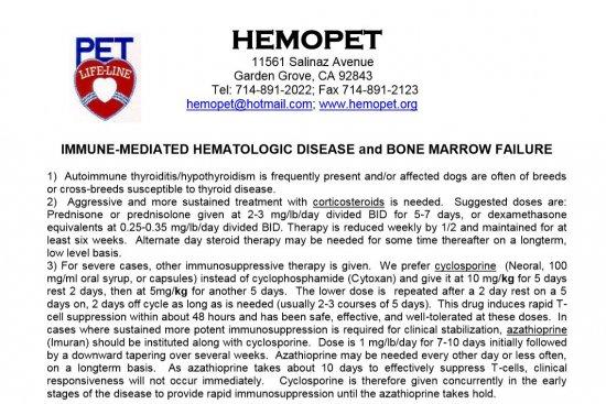 Dr Dodds IMHA Disease and Bone Marrow Failure