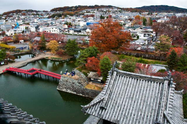 View of Matsumoto from the top of the castle