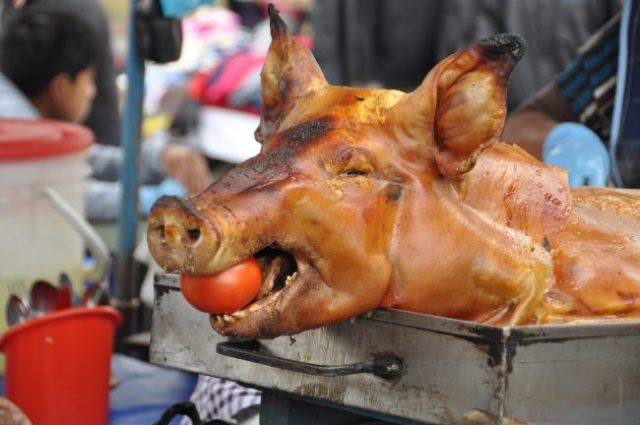 Probably a lot of the pigs I saw at the market will end up like this. :(