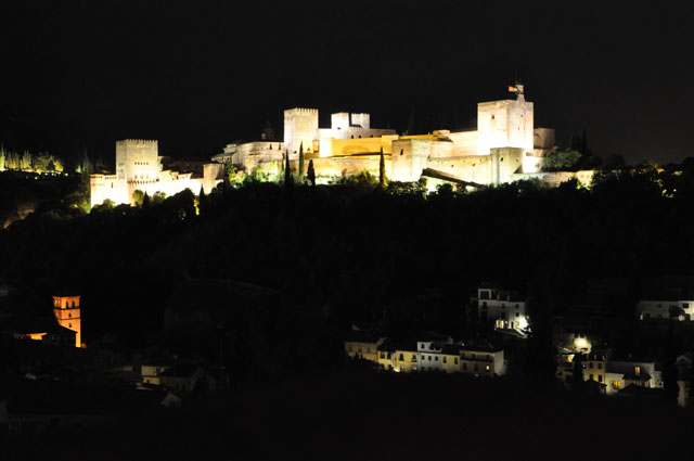 Alhambra at night from my Airbnb's roof terrace, Granada