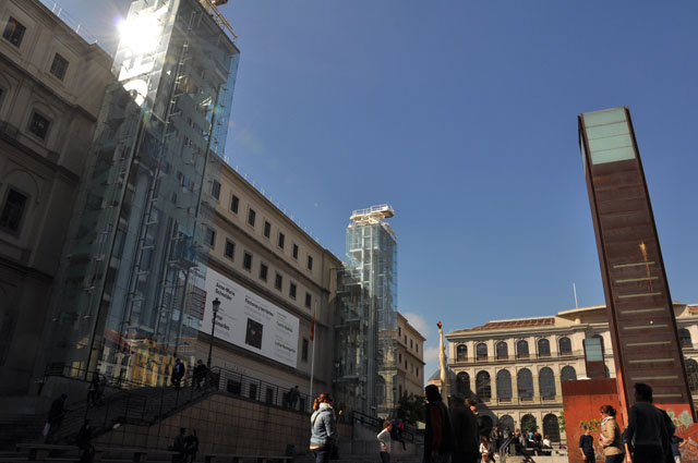 Museo Reina Sofía. Amazing courtyard and glass elevators.