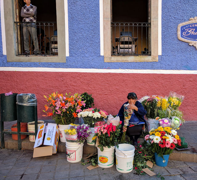 Flower vendor in Plaza del Baratillo