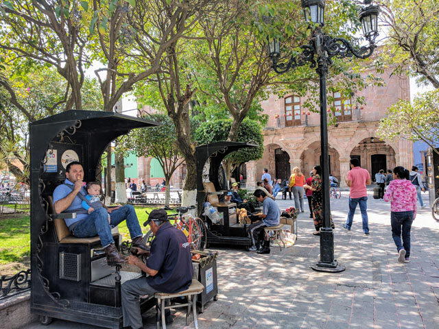 Shoe shine booths in the plaza